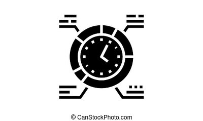 work schedule animated glyph icon. work schedule sign. isolated on white background