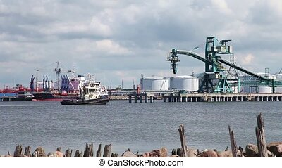 Work sea port - Petrochemical complex in a marine port and...
