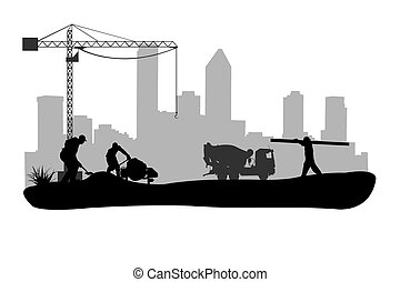 work site - illustration of working people silhouettes
