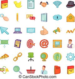Work space icons set, cartoon style