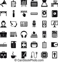 Work space icons set, simple style