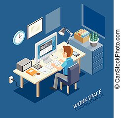 Work Space Isometric Flat Style. Business People Working On An Office Desk.