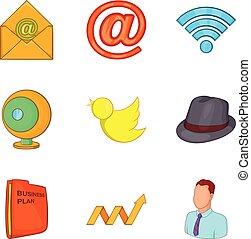 Work study icons set, cartoon style