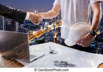 work., succesvolle , dubbel, team, hand, architectuur, handen, zakenman, rillend, blootstelling