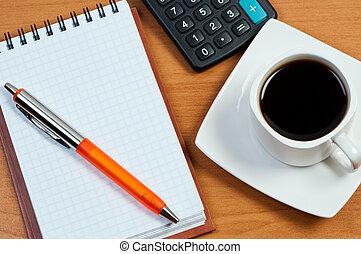 work-table., calcolatore, blocco note, penna, caffè