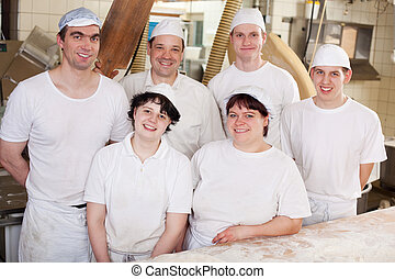 Work team in a bakery