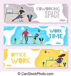 Work Time and Office Management Header Banner Set