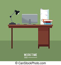 work time desk laptop lamp stack documents green background