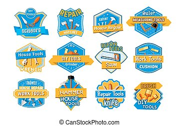 Work tool isolated badge set, home repair design