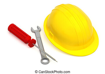 work tools and hardhat isolated