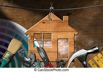 Work Tools and House - Home Improvement Concept