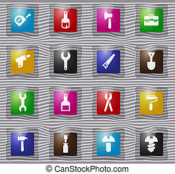 Work tools glass icons set - Work tools vector glass icons...