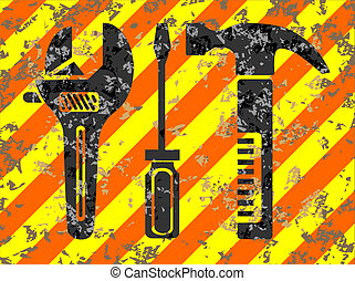 Work tools grunge background