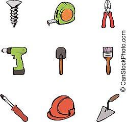 Work tools icons set, cartoon style
