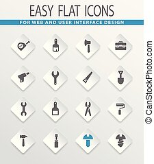 Work tools icons set - Work tools flat vector icons for user...