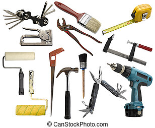 Work tools isolated on white background