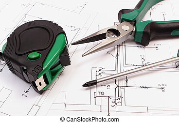 Work tools on electrical construction drawing of house