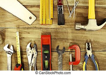 Work tools - Assorted work tools on wood