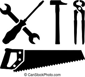 Work tools - screwdriver, wrench, hammer, saw, plier