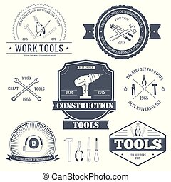 work tools set label template of emblem element for your product or design, web and mobile applications with text. Vector illustration with thin lines isolated icons on stamp symbol.