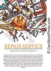 Work tools vector poster for repair service