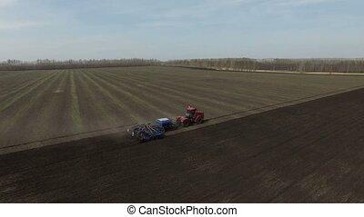 work tractor in field