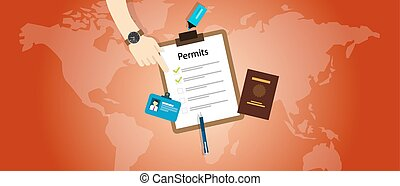 work travel permits passport application immigration vector