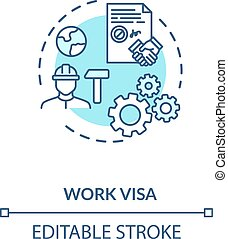 Work visa application concept icon. Foreign country legal ...