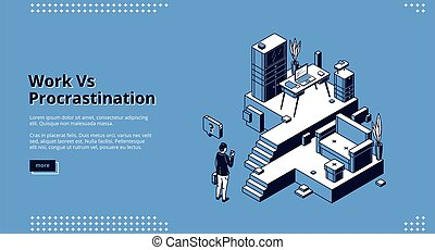 Work vs procrastination isometric landing page. Businessman choose between workplace with desk, laptop and working files or comfortable couch in living room. 3d vector concept, line art web banner