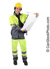 work-wear, contremaître, réflecteur, plans, examiner