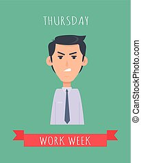 Work Week Emotive Vector Concept In Flat Design