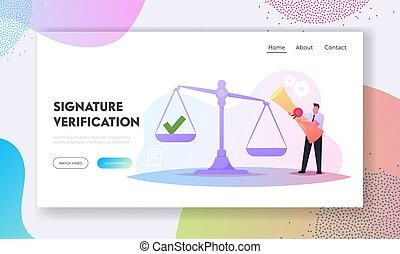 Work with Documents, Signature Authenticity Professional Service Landing Page Template. Tiny Male Character Holding Scroll with Stamp Stand at Huge Scales with Green Tick. Cartoon Vector Illustration