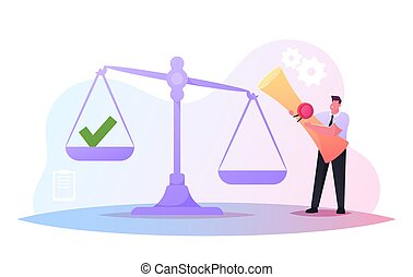 Work with Documents, Signature Authenticity Professional Service. Tiny Male Character in Formal Wear Holding Scroll with Seal Stamp Stand at Huge Scales with Green Tick. Cartoon Vector Illustration