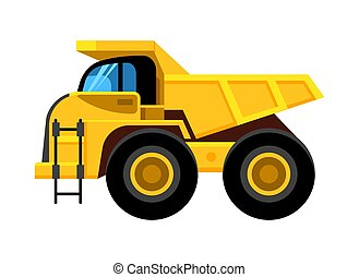 work yellow truck. big wheels construction vehicle dumper vector cartoon car isolated