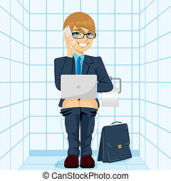 Workaholic Businessman Using Toilet