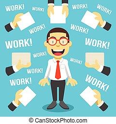 Workaholic. Creative vector flat illustration