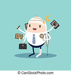 Injured Business man with tablet, phone, pencil and briefcase