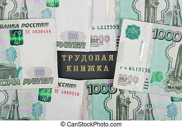 Workbook closed on all sides thousandths Russian banknotes