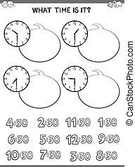 workbook, educativo, faccia, bambini, orologio