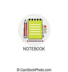 Workbook Notebook Writing Tool Icon Vector Illustration