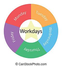 workdays, circulaire, concept, à, couleurs, et, étoile