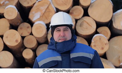 Worker against pile of logs