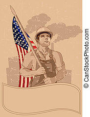 Worker and a American flag - Worker holding American flag,...