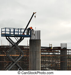 Worker and bridge pier measurement
