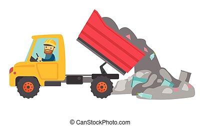 Worker and bulldozer at rubbish dump. - Caucasian white man...