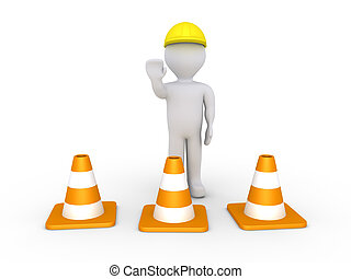 Worker and cones - Person as worker is behind traffic cones