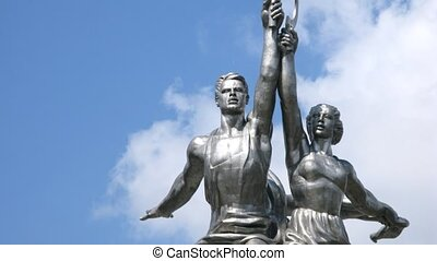 Worker and Kolkhoz Woman, close-up view, time lapse