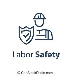 Worker and shield, medical insurance, labor safety, health protection