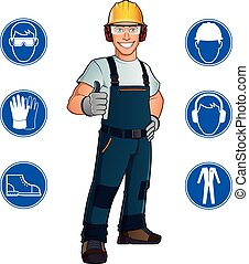 Worker and signs - Man dressed in work clothes, and safety...