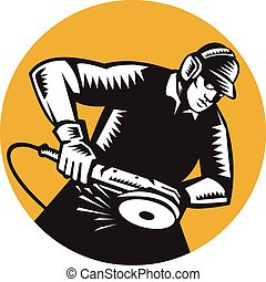Illustration of a worker wearing hat and ear muffs holding angle grinder working viewed from side set inside circle done in retro woodcut style.